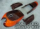 Kawasaki Z1 Body Part Kit are the correct year used O.E.M. fuel tank, rear tail section, and side covers restored to match the factory Candytone paint for that year.